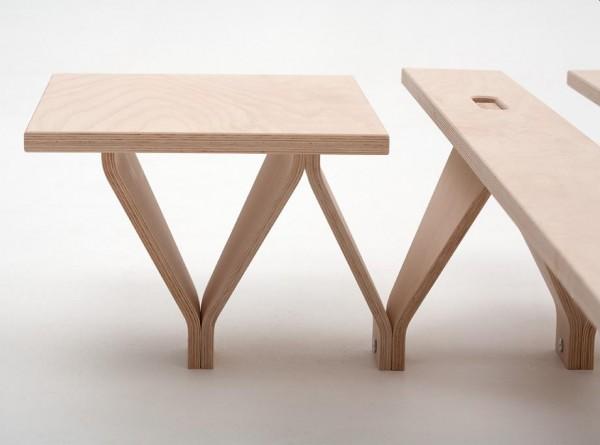 Nachttisch TOJO-LIEG aus Buche Multiplex für Modul Bett von TOJO