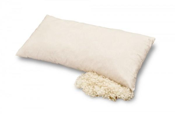 Bio Kopfkissen SCHAFWOLLE - Wollkissen im Bezug aus Bio-Baumwolle