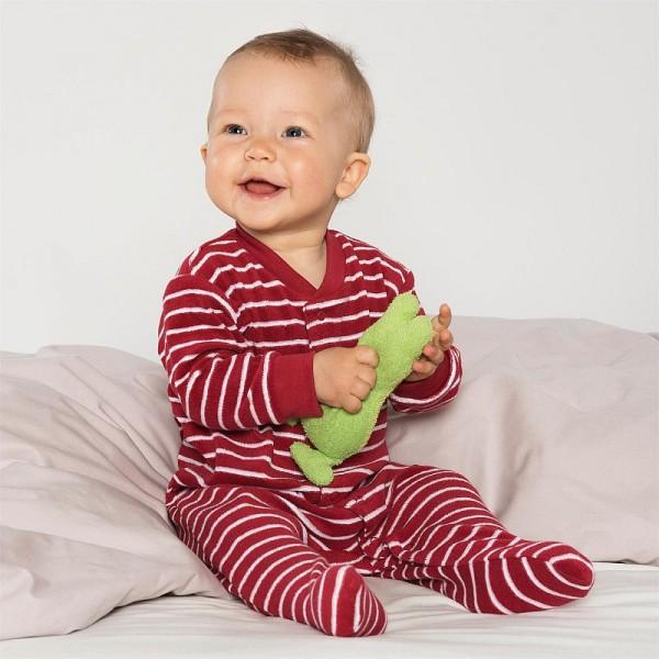 Bio Baby Schlafanzug FROTTEE KIRSCHE gestreift