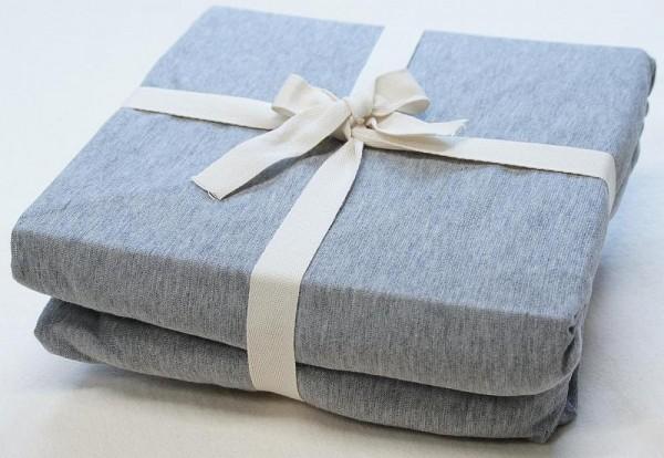Bio-Bettlaken aus kbA Baumwolle - GOTS- JERSEY grau-meliert