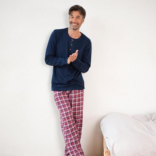 Bio Herren Pyjama, Schlafanzug JERSEY & FLANELL