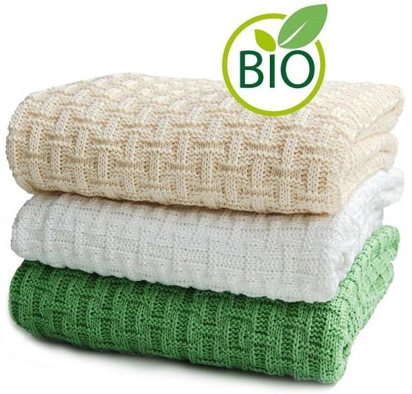 Bio Babydecke aus kbA-Baumwolle Strickdecke mit Karo-Muster