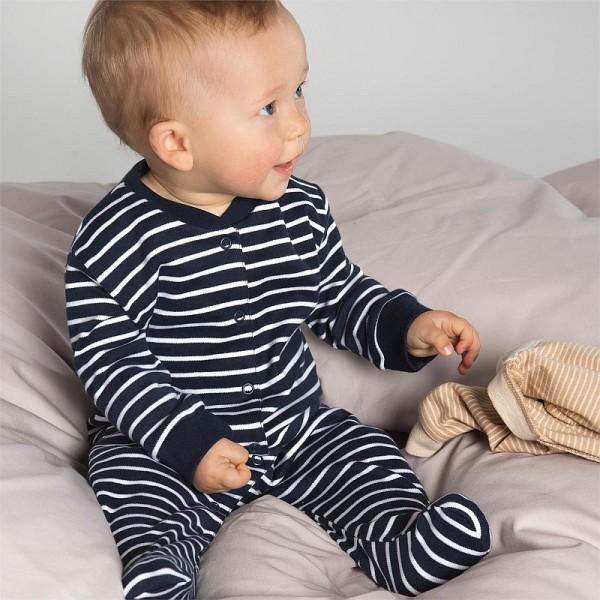 Bio Baby Schlafanzug JERSEY MARINE-WEISS Streifen