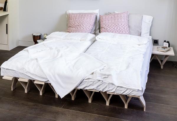 Design Bett TOJO-LIEG aus Buche Multiplex, beliebig zu erweitern